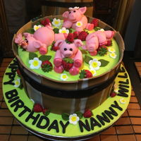 Piggies In A Strawberry Patch French Vanilla cake with gorgeous strawberry buttercream!