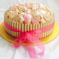 Prosecco & Strawberry Sweetie Cake Madeira cake with prosecco flavoured buttercream and strawberry filling.