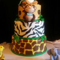 Safari Themed Baby Shower Cake My third attempt at a 3 tier cake and Im getting better!
