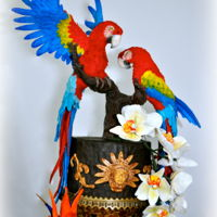 Scarlet Macaws - Mayan Paradise A dummy cake made for the state fair. One of my first sculptures, macaws made from gum paste with a wire armature, first time for birds of...