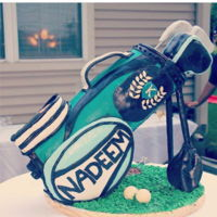 Standing Golf Bag Cake I followed Paul Bradford's tutorial to make this cake for my father's 60th birthday!
