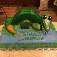Suchomimus Dino Cake This was my very first attempt at fondant work a suchomimus dinosaur cake for my Godson's 3rd birthday. I think it went decently and I...