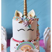 Unicorn Cake On 2Nd B'day !! A pastel colored Unicorn cake with fondant & buttercream combination !!