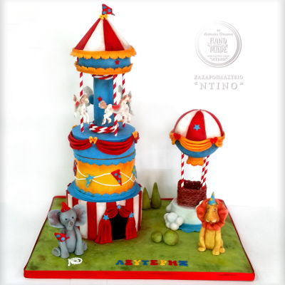 Carousel, Circus , Air Hot Balloon Carousel, Circus , Air Hot balloon, a cake for a baptism