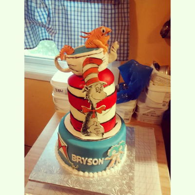 Cat In The Hat Cake Dr.Suess Cat in the Hat cake in fondant
