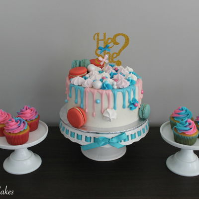 Gender Reveal Drip Cake & Cupcakes on Cake Central