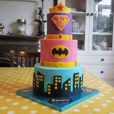 Girls Superhero Supergirl Batgirl Birthday Cake