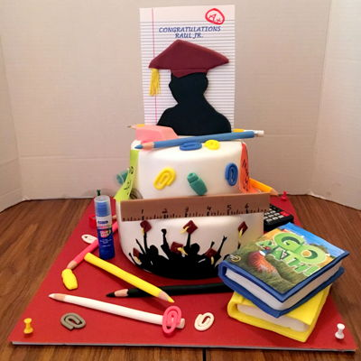 Graduation Cake For A 5Th Grader Mostly all edible except for the glue stick the calculator in the back and the push pins