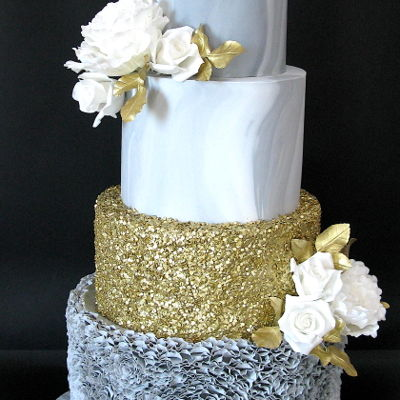 Grey Marble Wedding Cake Love marble cakes! Love sequins. Love ruffles but…..no more ruffles for this year!!! 15 hours !!!I wanted to add more flowers...