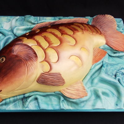 Mirror Carp Cake Large 18 inch Mirror carp, all sponge cake , hand painted in edible food colours