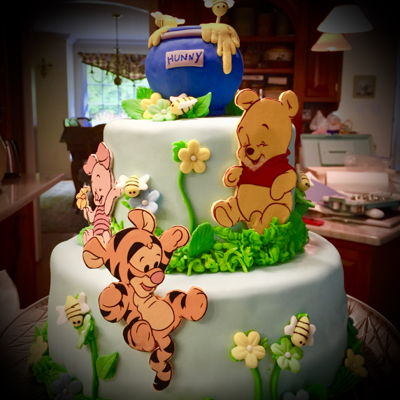 Pooh And Friends Baby Cake Winnie the pooh printed images, honey pot RKT, all decorations fondant and gum paste flowers and bees