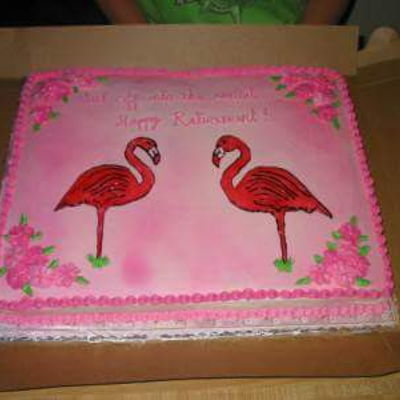 "Retirement was asked to do the most ""trailerpark"" flamingo cake oh how I hated this one! I thought horrible! lol but they loved it and gave..."