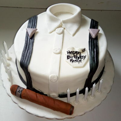 Shirt Cake Fruit Rum Cake covered in Fondant with gum paste cigar