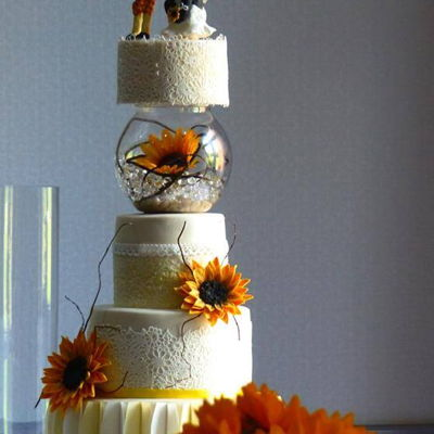"Sunflowers 5 Tiered Wedding cake for a 6ft 6"" Groom (he calls himself a Giraffe) and his Panda bride (Topper requested by Bride)All handmade...."