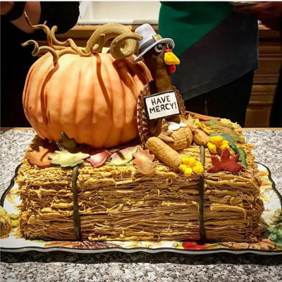 Thanksgiving Cake! Made this cake combining a few different cake techniques! The pumpkin is cake, which I learned from Krazy Kool Cakes on YouTube. The...