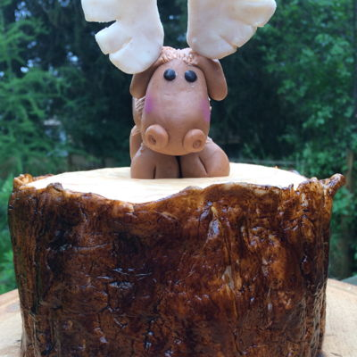 Tree Bark Cake With Moose Topper