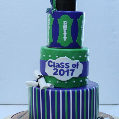 Triplet Graduation 3-tier fondant in school colors. Modeling chocolate cap, tassel and scrolls.