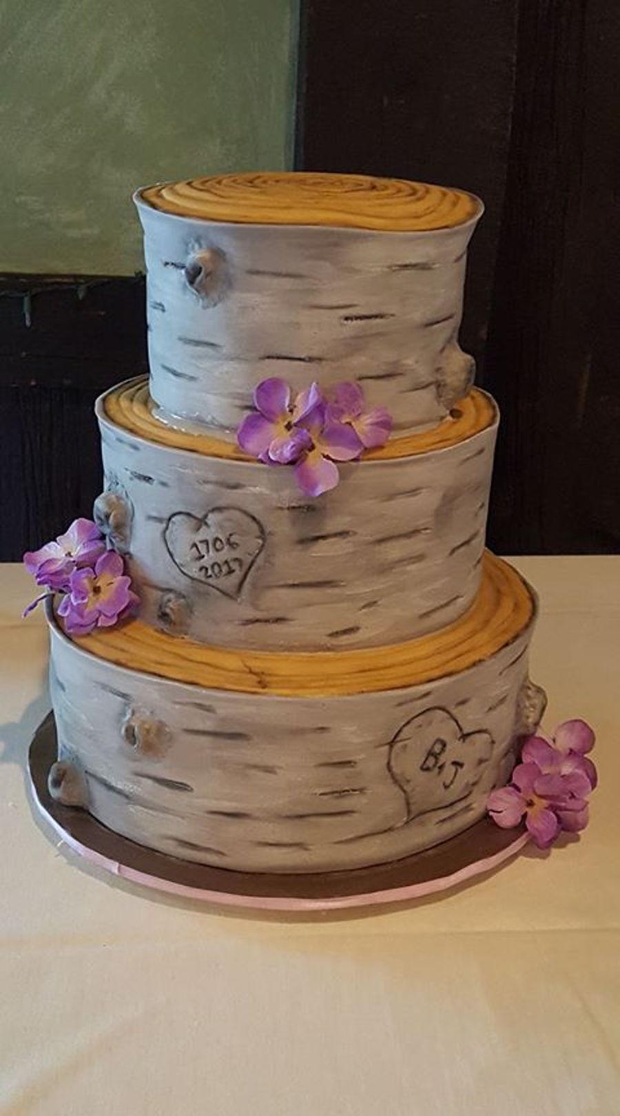 Rustic Birch Bark Wedding Cake - CakeCentral.com