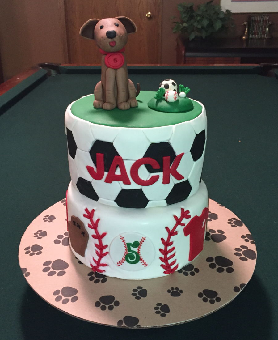 Birthday Cake For A 5 Year Old Soccer And Baseball Player