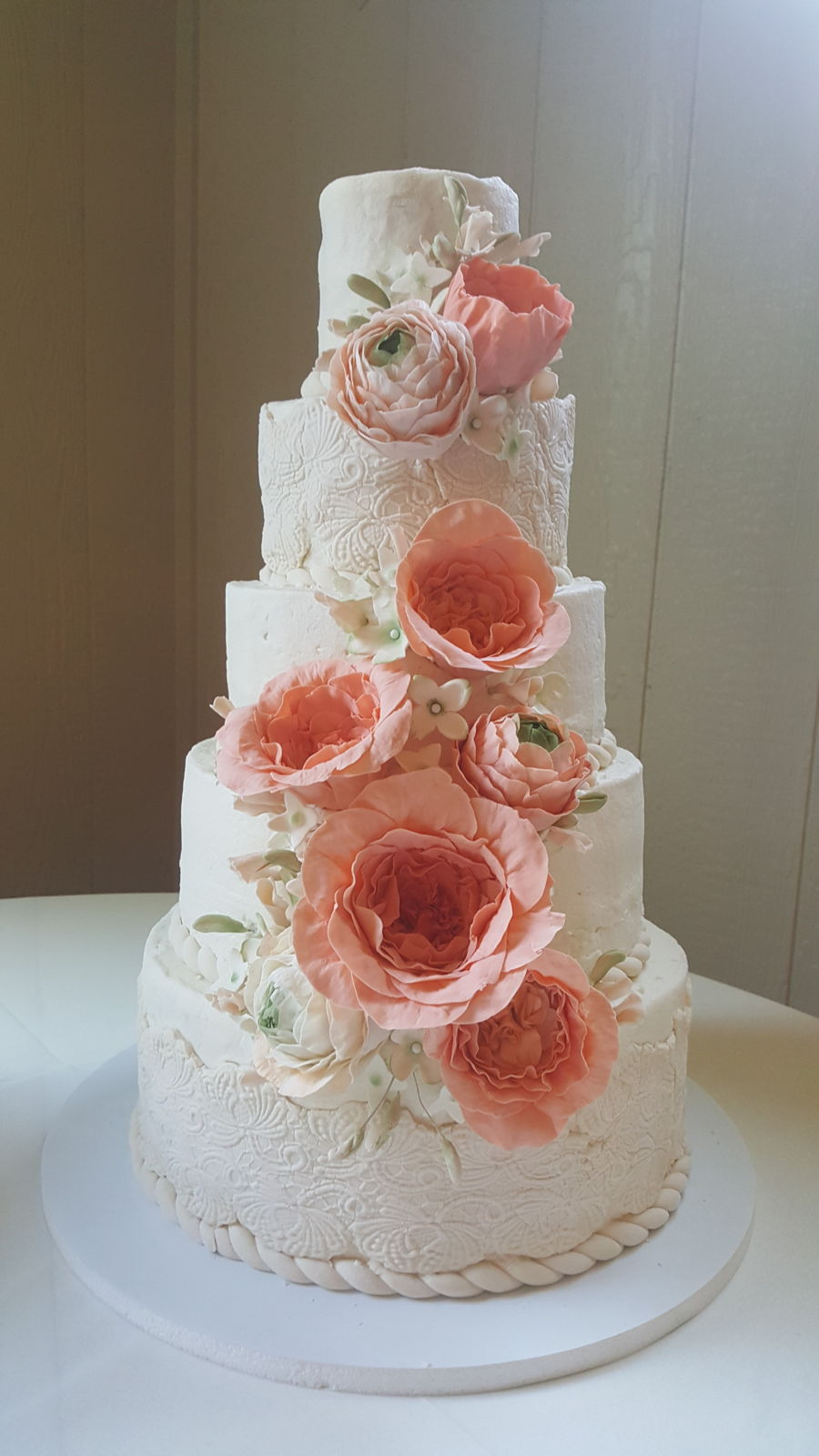 Coral And Mint Wedding Cake on Cake Central
