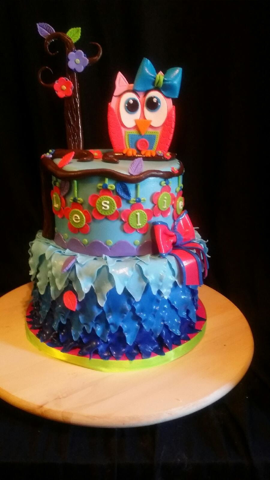 Cute Little Owl Birthday Cake on Cake Central