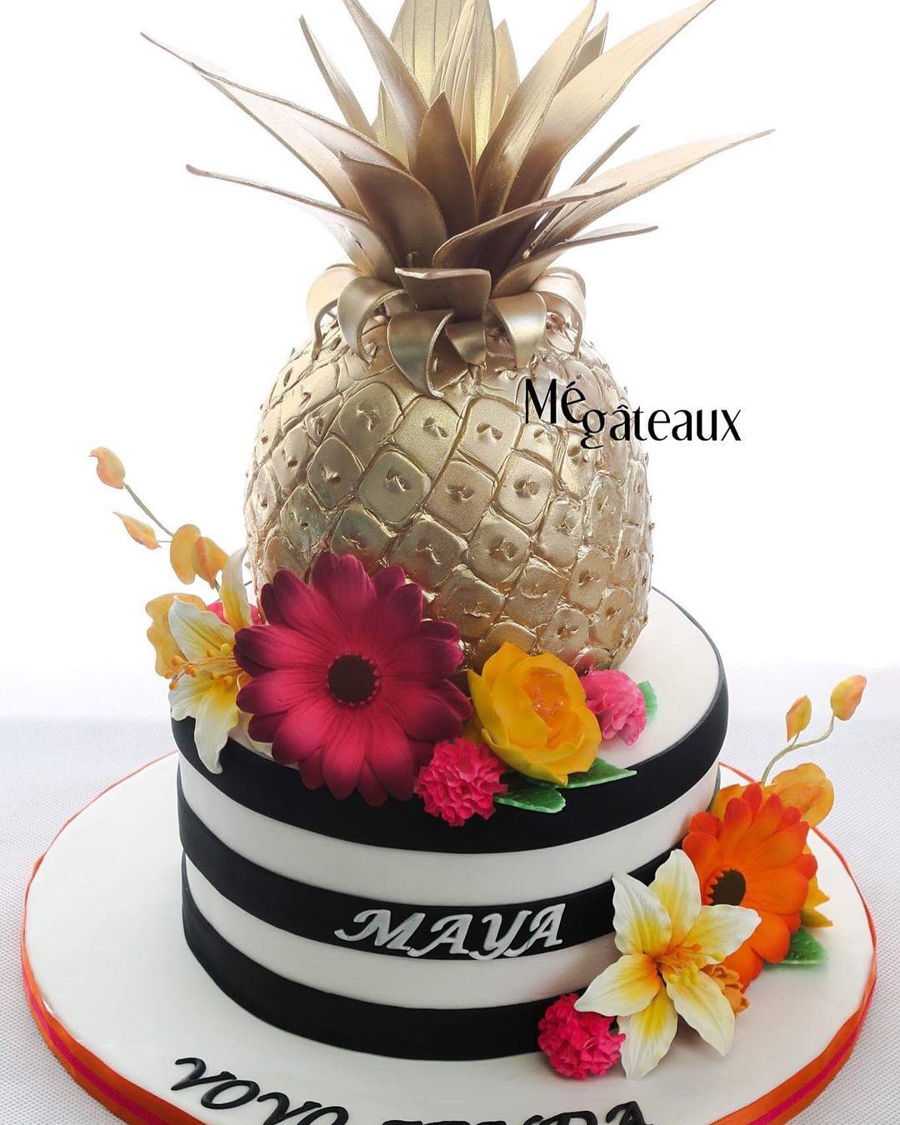 Gold Pineapple on Cake Central