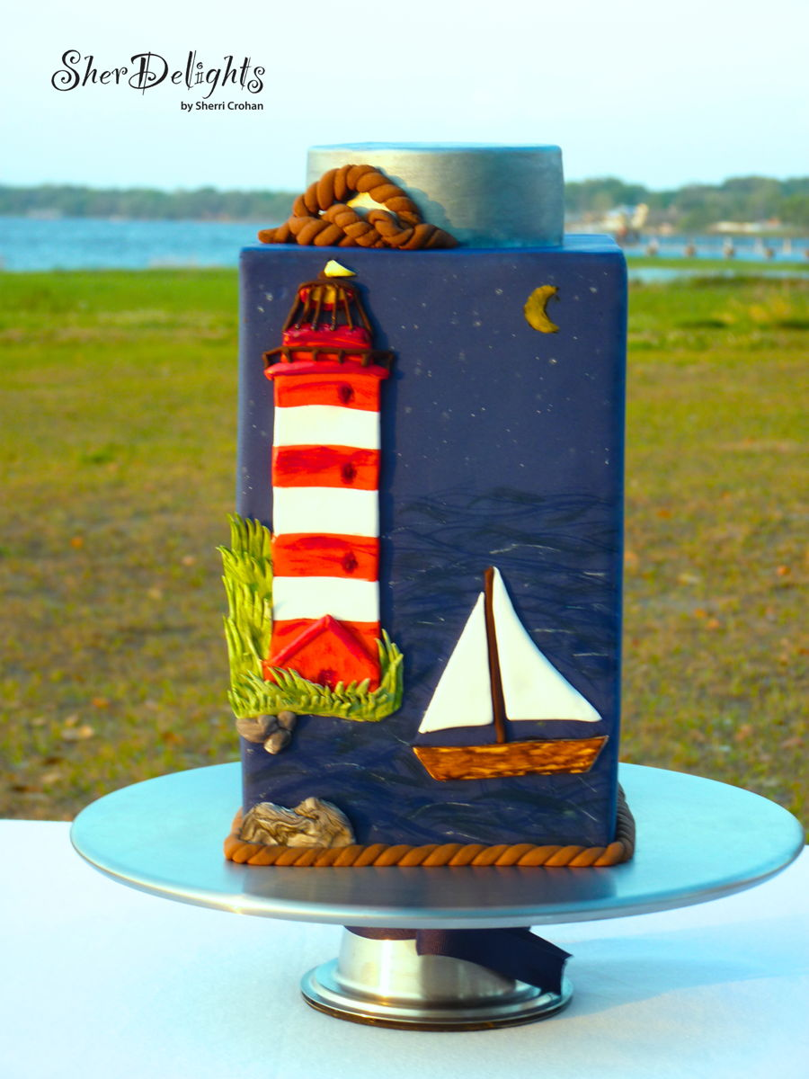 Lighthouse Groom's Cake on Cake Central