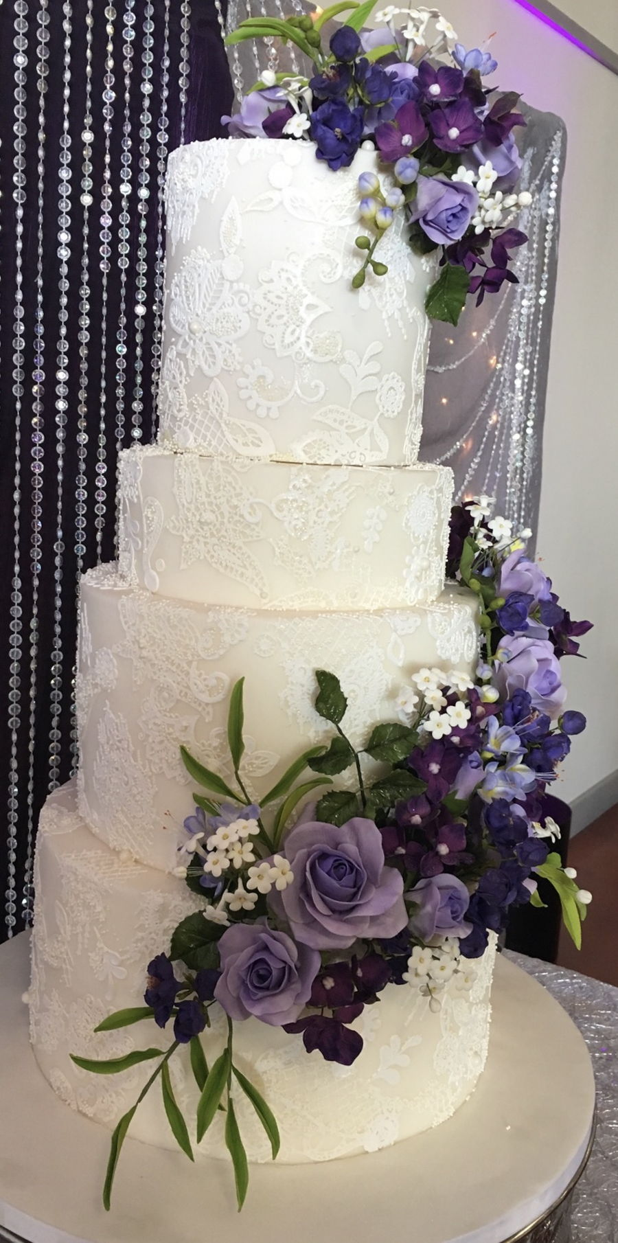 Purple And Lace Wedding Cake - CakeCentral.com