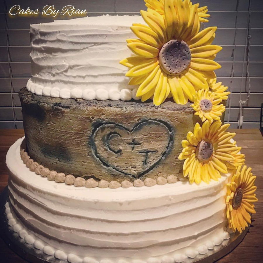 rustic wedding cakes with sunflowers rustic sunflower wedding cake cakecentral 19574