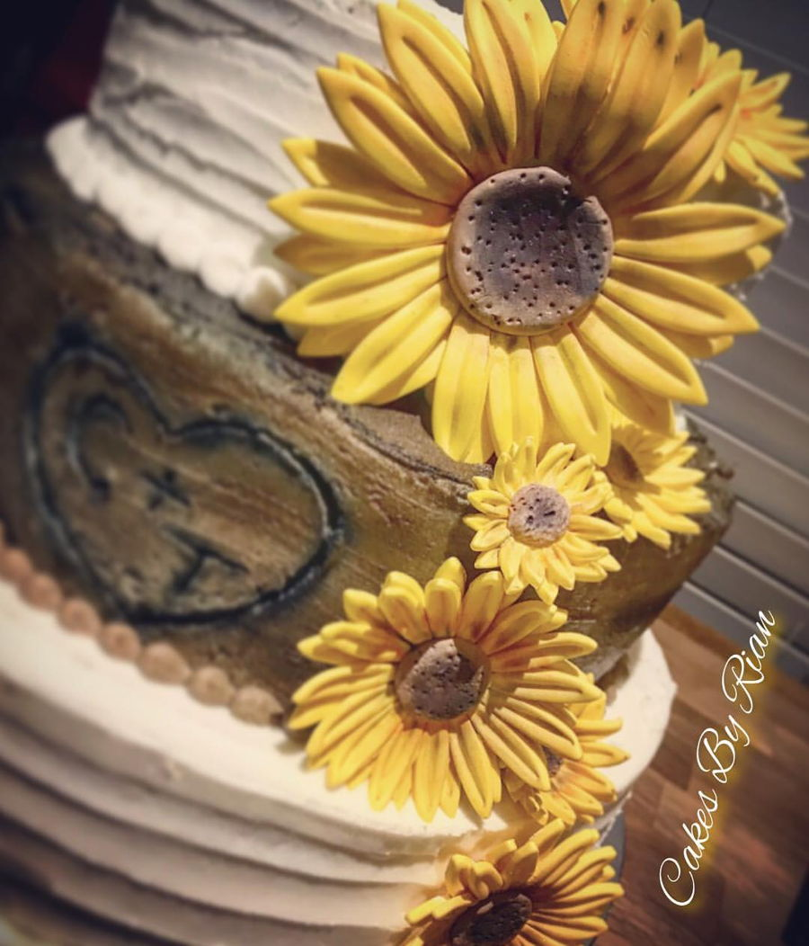Rustic Sunflower Wedding Cake - CakeCentral.com