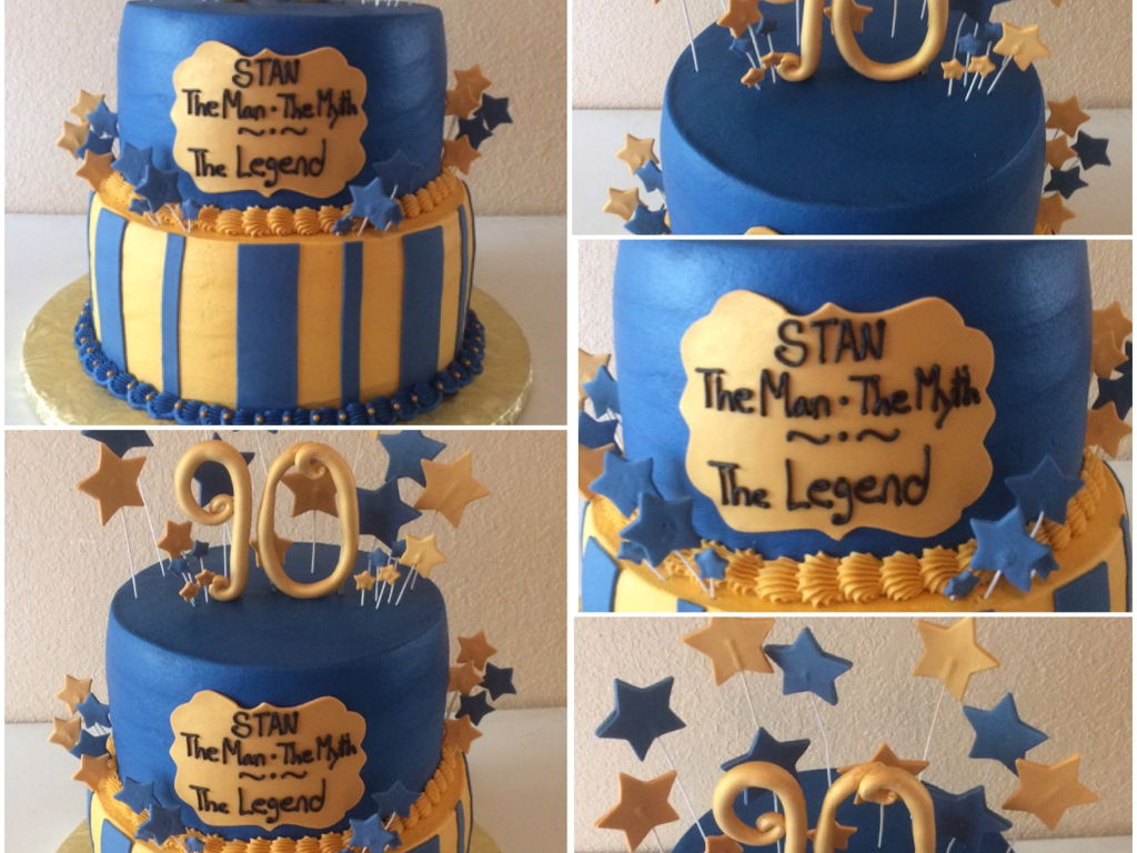 Gold And Royal Blue 90Th Birthday Cake