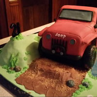 21St Birthday Jeep Jeep cake for a young lady who loves 4 wheeling. Turning 21 so Mom thought we should add the booze bottles.
