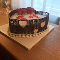 40Th Wedding Anniversary Heart Shape - chocolate cage with modeling chocolate flowers.