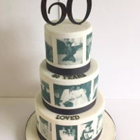 60Yrs Loved 3 tier cake: 9,7,5 all covered in fondant covered in edible images