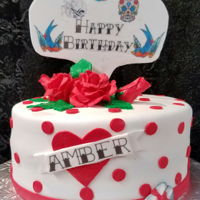 American Tattoo Inspired Cake Hand made sugar paste flowers and topper