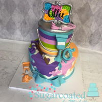 Art Themed Cake This cake was fun to make, all sculpted pieces and my daughter hand painted the artwork on top.