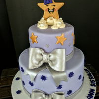 Baby Shower Cake Silver bows, gold stars, and fluffy clouds!!