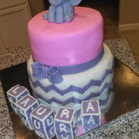 Babyshower Elephant Cake Its a girl!! Babyshower fondant elephant with fondant balloons.