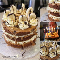 Banoffee Cake Banana cake with 2 layers of homemade caramel sauce, bananas, freshly whipped cream and chocolate chips. Topped with more caramel, cream,...