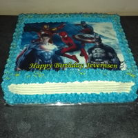 Birthday Cake - Boys Super hero image cake. Vanilla with buttercream icing