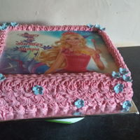 Birthday Cake - Girl Vanilla butter cake with barbie image
