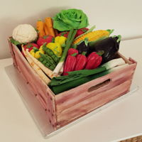 Cake Wood Crate With Vegetables I made this cake for Nikola, my dear son in law, vegetarian and lover of natural.Vegetables are made with gum paste. Somewhere I put...