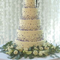 Cascading Pearls Wedding Cake Four, Six, Eight, Ten and Twelve inch round tiers in buttercream with edible pearls.