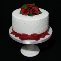 Classic Decoration Cake White cake with red sugar roses
