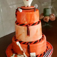 Dental Hygienist Graduation Cake for my great-niece. Had a terrible time in the heat and humidity with my homemade mmf. School colors are orange and black so was asked...