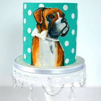 Dog Painting Cake I painted this cake using pro gels edible paints in memory of a boxer who passed away.