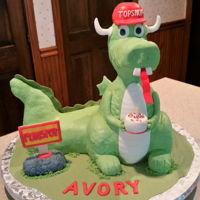 Dragon Birthday Cake Dragon for a child's birthday, replica of the mascot/symbol of a famous arcade in my area. I previously made one for the arcade...