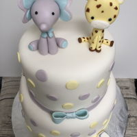 Elephant Elephant and Giraffe cake for a baby girl's 100 day party