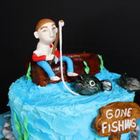 "Fishing 10"" white almond cake rkt boat first time making a little man"