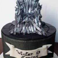 Game Of Thrones Buttercream cake with gum paste Iron throne!